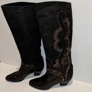 Italian Designer Tolin Embroidered/Studded Boot